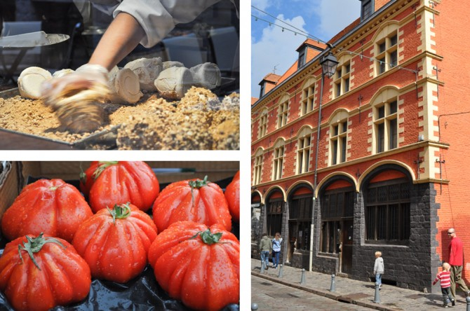 Bakery shop window + market tomatoes + Hospice Comtesse in Lille, France