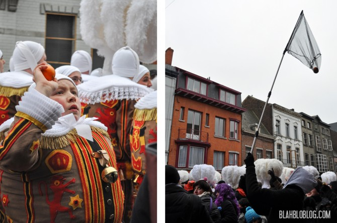 Catching oranges with a net -- Carnaval in Binche, Belgium