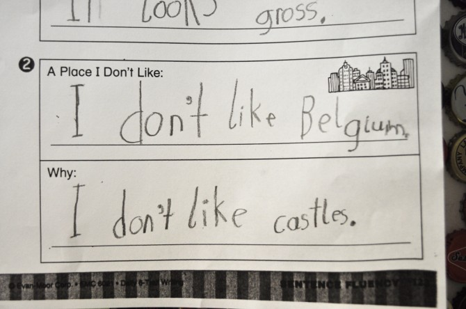 The kid doesn't like Belgium