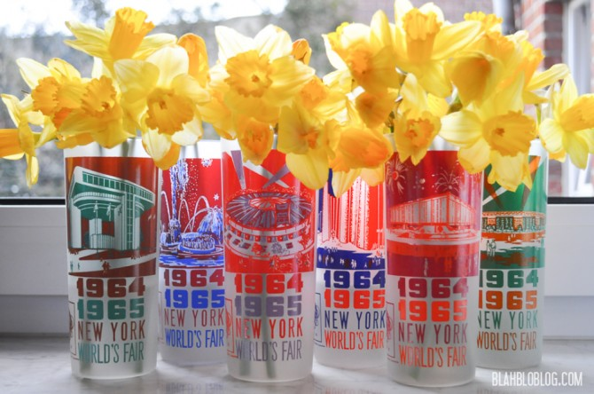daffodils and vintage glasses