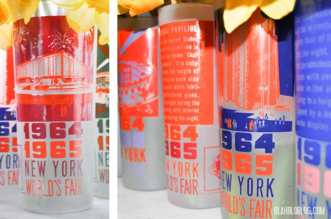 Set of 6 1964-65 New York World's Fair  vintage glasses. Can't believe they cost 60 cents!