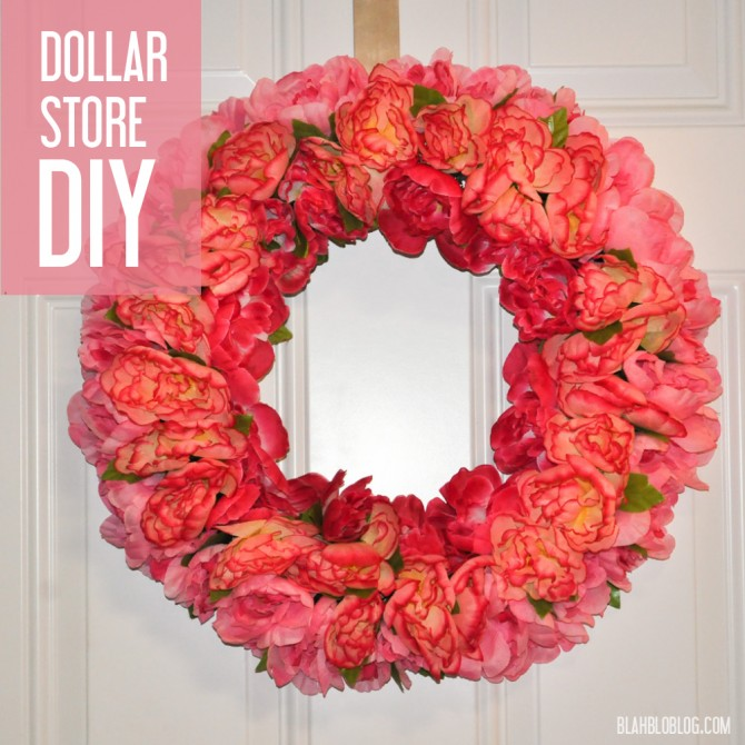 Dollar Store DIY wreath with silk peonies -- for only $12!